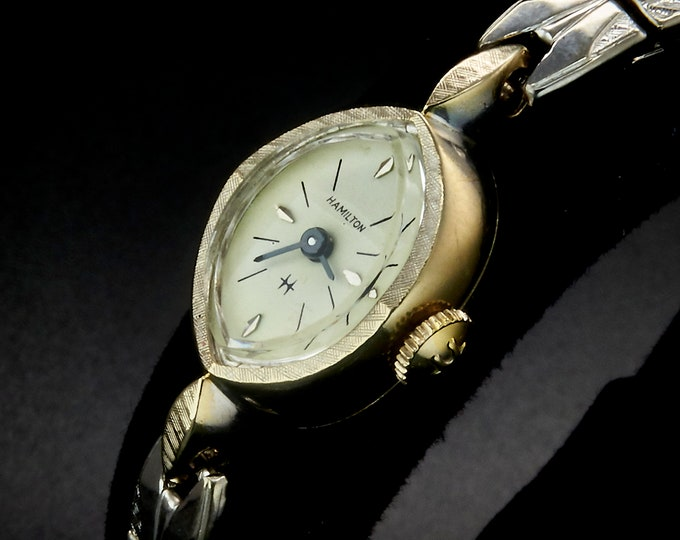 1964 Vintage Hamilton USA Marquise Cocktail Watch • 60s American Mid Century Modern • Women's White Gold Heirloom Estate Jewelry