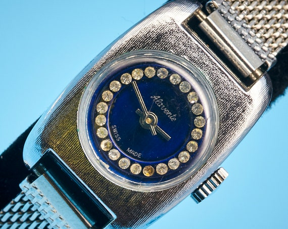 1960s Pop Art Jewelry | DAINTY Mid Century Modern vintage watch | Bejeweled Blue Dial with a silver tone case/bracelet