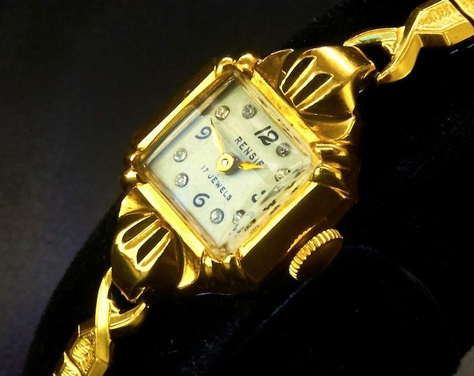 DIAMONDS! 1950s Rensie Ladies 10k Yellow Gold Plated Cocktail Watch • 8 Diamonds • Speidel 10k GP Stretch Bracelet • Heirloom Estate Jewelry