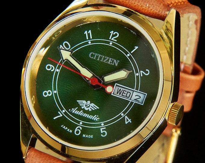 FLASHY Men's/Unisex CUSTOM MOD 70s Citizen Watch | Green, Blingy, Bold, Heavy...Awesome | Premium Leather | Handmade