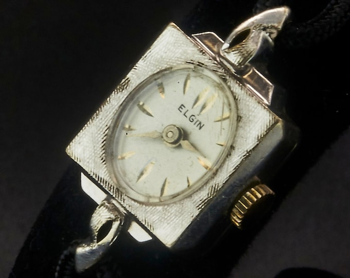 1950s Lady Elgin Square Cocktail Watch •Art Deco Style Bracelet •Vintage Mid Century Modern •Heirloom Estate Silvery White Gold Jewelry