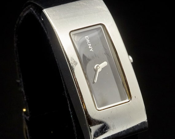 90s DKNY Formal Womens Watch | Black + Silver | Leather + Steel | Vintage Designer Jewelry | Prom Accessories | Gift Idea