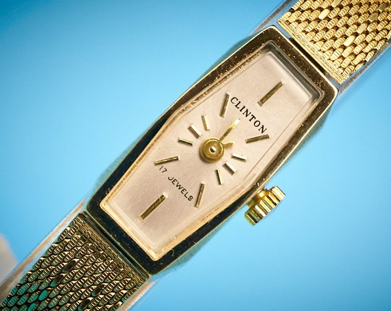 1960s Clinton Cocktail Watch - Delightfully Different Mid-Century Modern MCM Wrist Candy - GLITTERY gold filled - Swiss Mechanical Winding