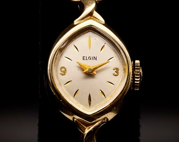 Mother's Day Gift   Delicate Gold Jewelry   Tiny Elgin Cocktail Watch   Dainty Mid Century 1950s Bracelet   Ladies Antique Watch   Mom Gift