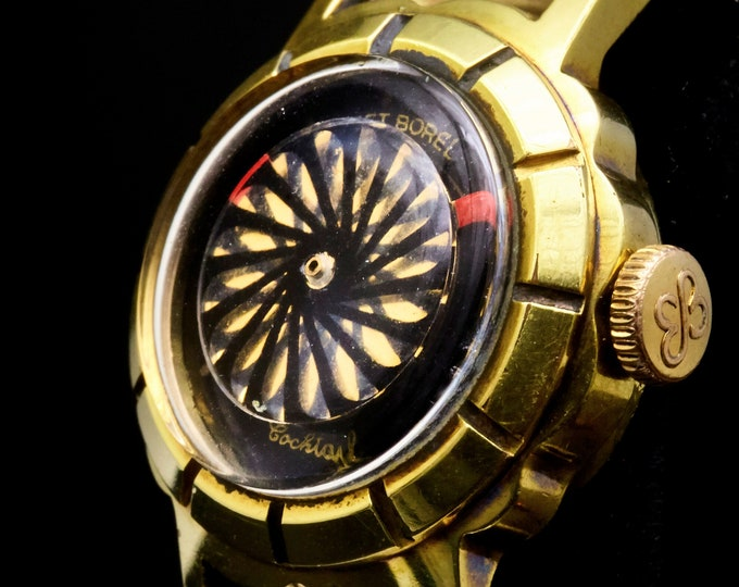 """Swirling Black-on-Gold Kaleidoscope Watch • Vintage 1960s Ernest Borel Gold Scalloped """"Cocktail"""" Watch • Mid Century Heirloom Estate Jewelry"""