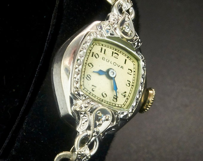 "1953 Bulova ""Pembroke"" Diamond 10k White Gold Filled Marquise Watch • Two Old Mine Diamonds • Mid Century Heirloom Estate Jewelry"