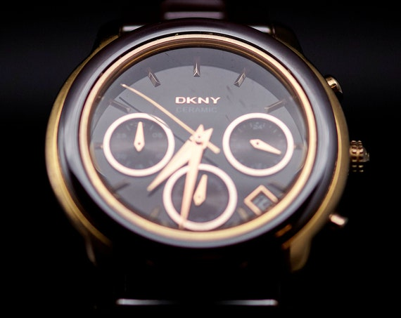 DKNY Ladies Ceramic Vintage Diver Watch   Vintage DKNY Watch   Ceramic Bracelet   Ladies Scuba Diving Watch   Sporty Womens Bracelet Watch
