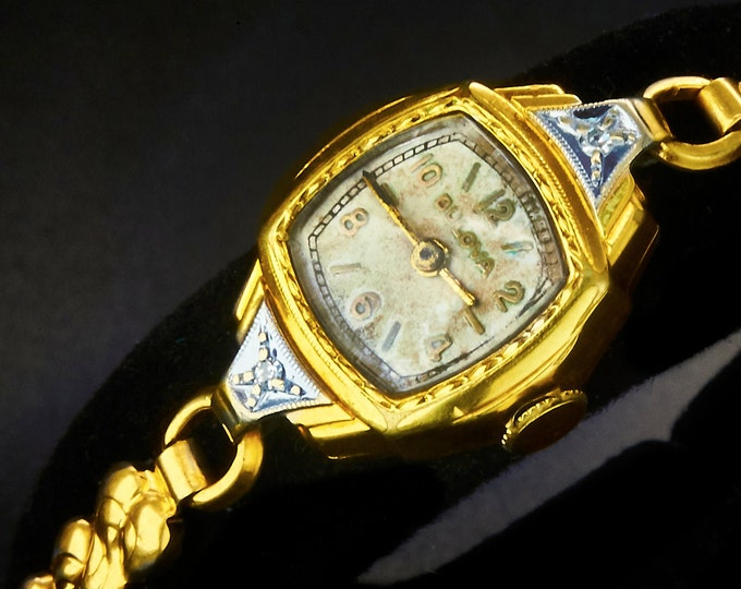 """DIAMONDS! 1937 """"Lady Bulova D"""" 10k Yellow Gold Filled Marquise Cocktail Watch • Two Old Mine Diamonds • Art Deco Heirloom Estate Jewelry"""