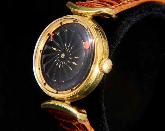 Mesmerizing 1960s Kaleidoscope Watch • Ernest Borel Gold Cocktail Wristwatch • Mid Century Modern Heirloom Jewelry • Lizard Skin Bracelet