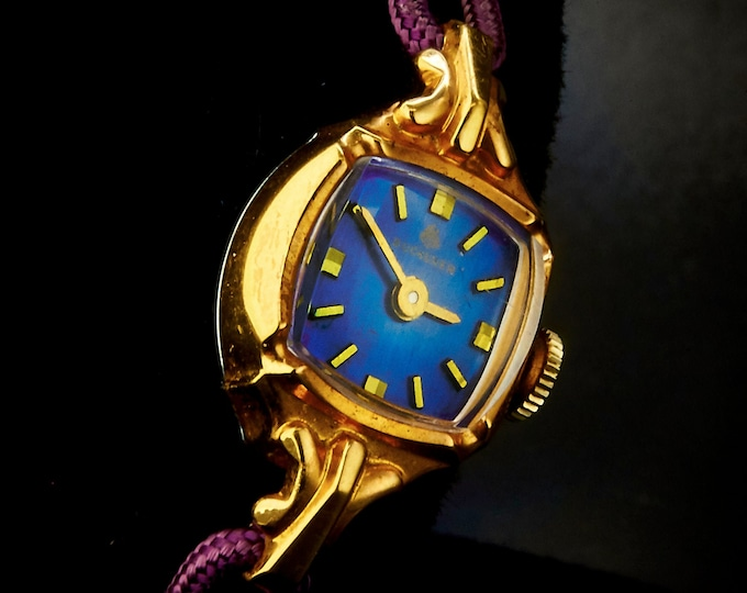 Eye Catching 1965 Bucherer • 10k Rolled Yellow Gold Plate Marquise Cocktail Watch • Blue Cushion Dial • Art Deco Style Estate Heirloom