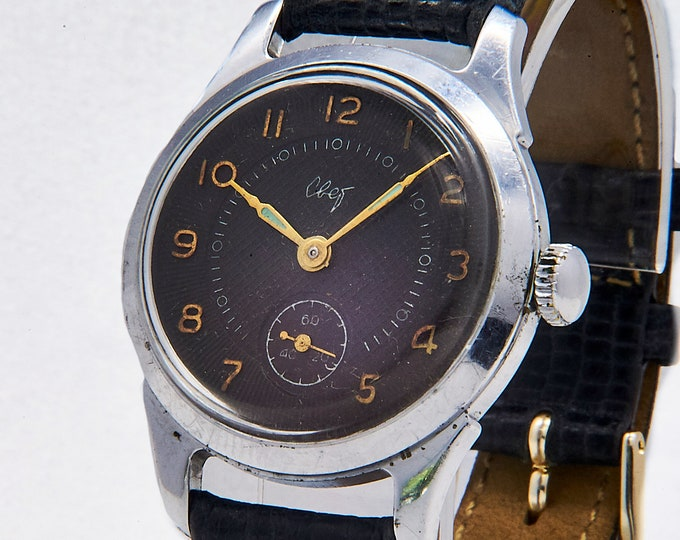 Vintage 60s Soviet Russian Raketa Svet Wristwatch • Military Style Mechanical Watch • Made in USSR • Black Calfskin Leather