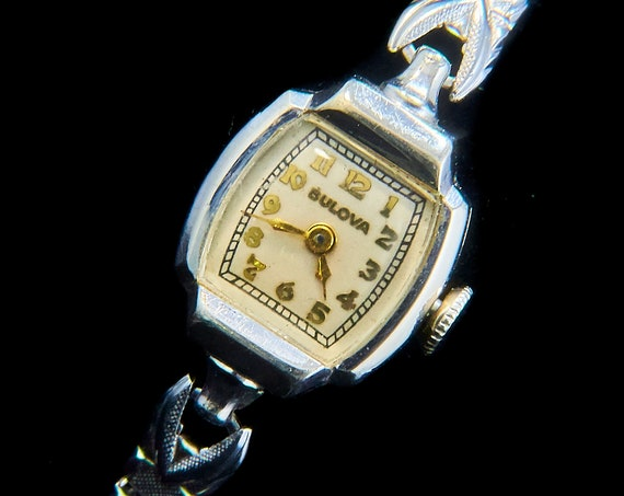 "1940s Delicate Art Deco Cocktail Watch | 1946 Bulova ""Shirley"" | Fits Tween, Teen, tiny wrists | Antique Silver Bracelet Watch"