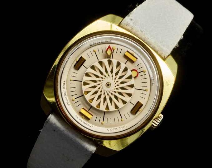 Featured listing image: 1960s Kaleidoscope Watch - Ernest Borel midsize Cocktail model with swirling white kaleidoscope dial - FREE SHIPPING + WARRANTY!