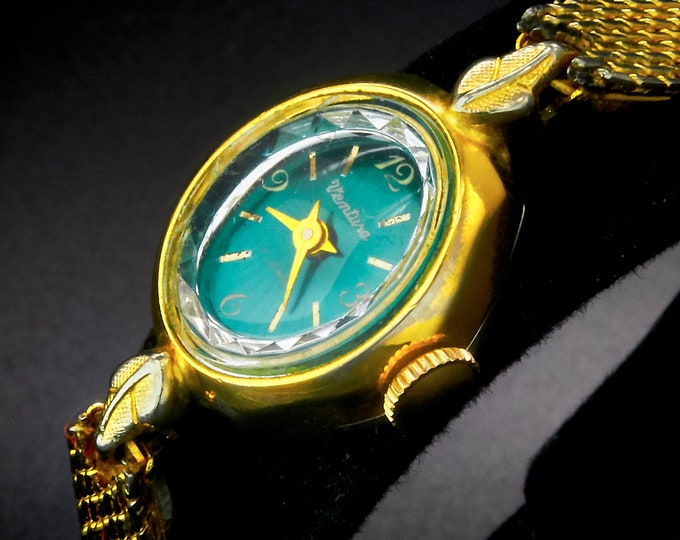 Women's 1960s Ventura Cocktail Watch • Round Marquise + Flashy Green Dial • Swiss Mid Century Modern • Heirloom Estate Gold Jewelry