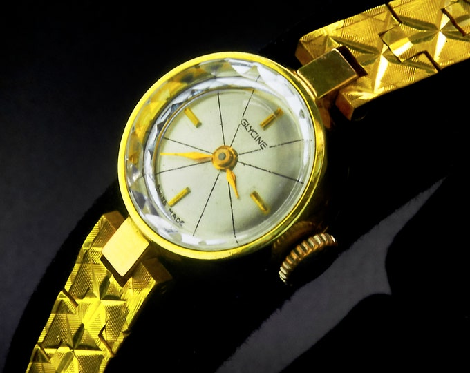 "STYLISH! 1966 Glycine ""Elena 5153A"" Ladies Gold Plated Cocktail Watch • Original Integrated GF Bracelet • Vintage Estate Heirloom Jewelry"