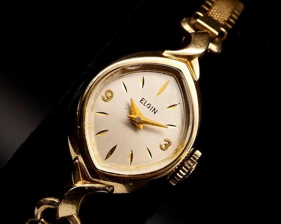Dainty Elgin Cocktail Watch | Vintage 50s Womens Gold Watch | Mid Century 1950s Gold Bracelet Watch | Ladies Antique Watch | Summer Jewelry