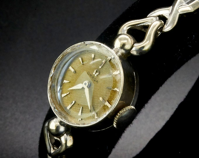 Solid 14k White Gold Watch, 1954s Vintage Omega Cocktail Watch, Stretch metal Bracelet Watch, Solid Gold Jewelry (approx 4.4 grams)