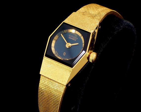 1980s Minimalist Gold Cocktail Watch | 1981 Citizen Women's Dainty Formal Watch | Cosplay Watch