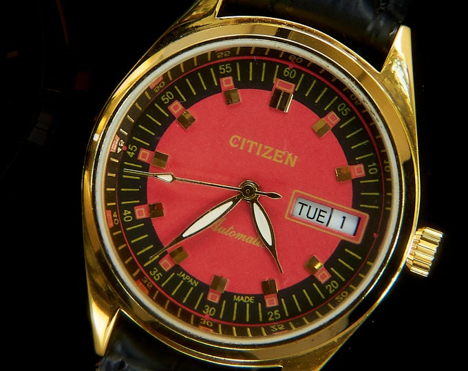 "1970s Vintage Citizen Automatic Men's Gold Watch• Hand-built Custom Mod Restoration •Goth ""Vampire"" Watch Black & Red"