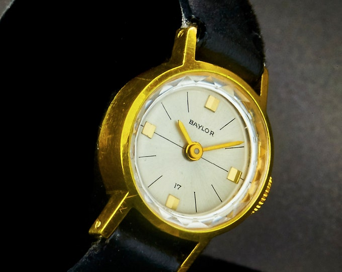 Dainty 1966 Baylor Ladies 20 Micron Gold Plated Designer Cocktail Watch • New Premium Black Leather Band • Vintage Estate Heirloom Jewelry