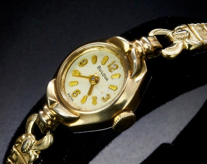 """Dainty 1960 """"Miss Universe F"""" 10k Yellow Gold Plated Marquise Cocktail Bracelet Watch / Mid Century Modern / Women's Heirloom Estate Jewelry"""