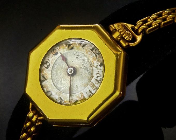 "Lovely 1933 F.A. Hirsch & Co ""La Vogue"" Ladies Convertible Pocket / Wristwatch • 14k Yellow GF Octagon Case • Art Deco Estate Jewelry"