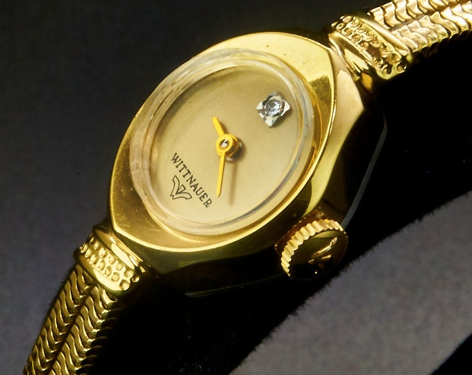 """1960s Wittnauer """"LT 4621-6V1 """" Ladies Diamond Marquise Cocktail Watch • 10k Gold Plated • Original Double Rope Bracelet • Heirloom Jewelry"""