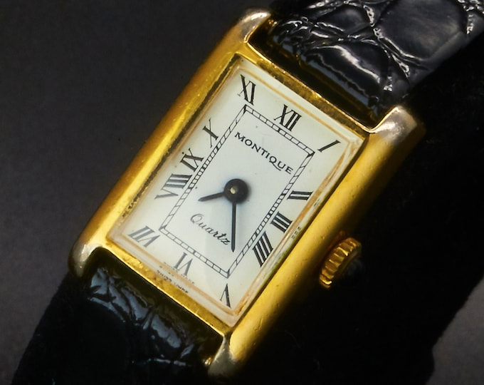TINY! 1980s Montique Gold Plated Tank Watch • White Dial • Black Patent Leather Embossed Crocodile Pattern Band • Vintage Estate Jewelry