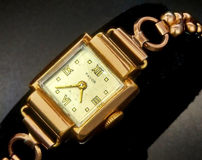 Vintage Favor Ladies Square Tank Watch • 20 Micron Rose Gold Plate • Rose Gold Filled Speidel Stretch Bracelet •  Heirloom Estate Jewelry
