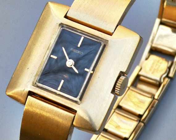1970s Seiko Vintage Cuff Bracelet Watch | Expandable | Brushed gold finish | FULL MECHANICAL RESTORATION