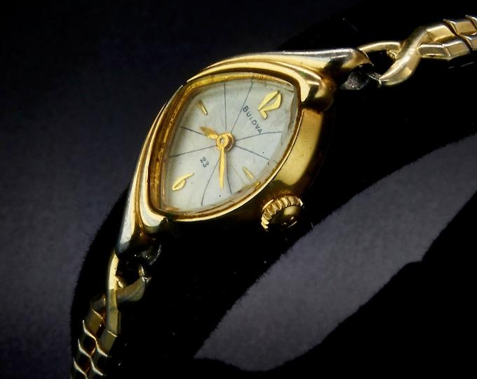 "Vintage 1963 Bulova ""Sunburst"", Funky Asymmetric Cocktail Bracelet Watch • Swiss Mid Century Modern• Women's Heirloom Estate Gold Jewelry"