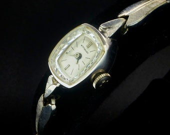 Vintage 60s Wittnauer 2726-4D White Gold Filled Tiny Marquise Cocktail Watch, Gold Filled Kesten Expansion Bracelet, Luxury Heirloom Jewelry