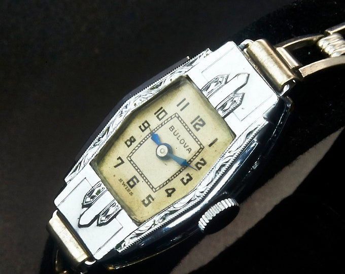 """So Deco! 1934 Bulova """"Florence"""" Ladies Stepped Tank Watch • 10k White Gold Plate • Ornate Hand-Carved Details • Heirloom Estate Jewelry"""