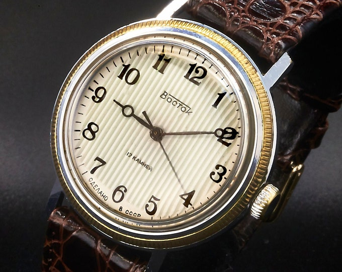 Vintage 1960s Vostok Soviet Russian 37mm Men's Watch • Mechanical Winding • Pinstripe Dial •Breguet Hands •Made in USSR