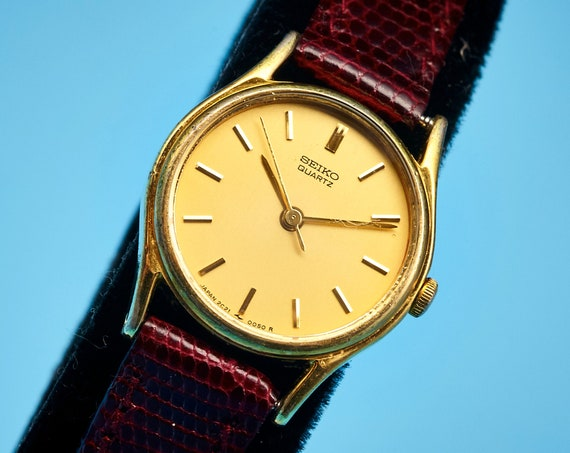 Dainty Gold Vintage 80s Seiko Watch • Simple Elegant Minimalist • Handmade Lizard Skin Bracelet • Lovingly and Carefully Restored
