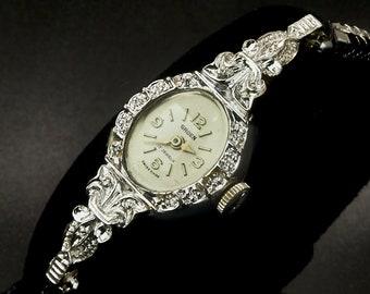 Super Ornate 1960s Gruen 419A Marquise Cocktail Watch,White Gold Filled Ladies Heirloom Wristwatch, Mid Century Antique Estate Jewelry