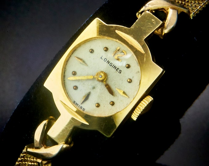 """1953 """"Venus"""" 14k Solid Yellow Gold Longines Watch • Womens Antique Estate Heirloom Jewelry • Duchess Gold Filled Mesh Bracelet Square Watch"""