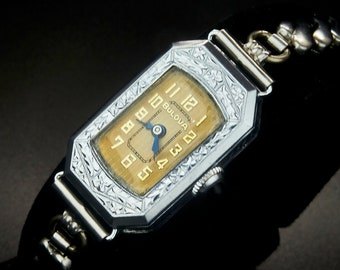Pristine Vintage 1928 Bulova Ladies Luxury Cocktail Watch, White Gold Filled Cut Tonneau, Ornate Flower Motif, White Gold Filled Bracelet
