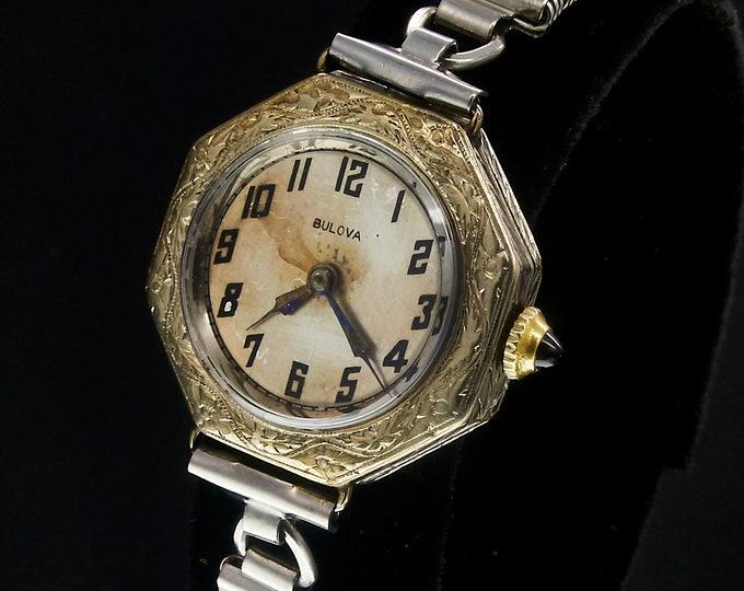 "1920s Art Deco Bulova Watch, Vintage 1922 ""Lady Maxim"", Ornate Silvery 18k White Gold Filled Case, Womens Antique Timepiece"