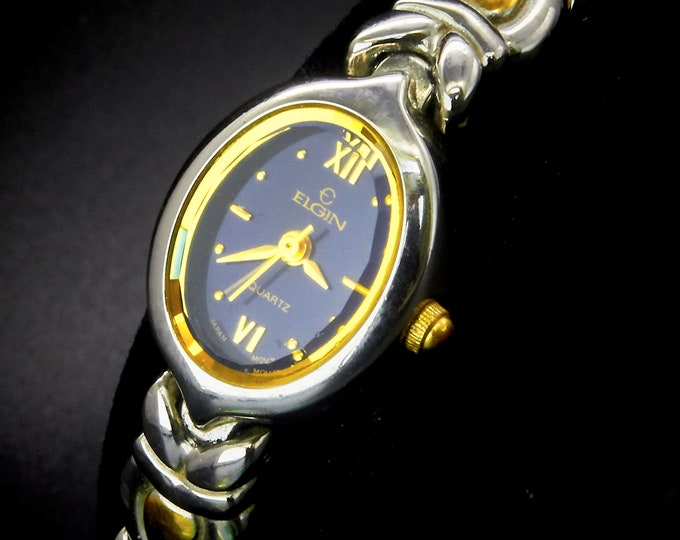 Dainty Vintage Elgin Bracelet Watch, Gold/Silver, Midnight Blue Dial, Hand Faceted Crystal, 1990s Heirloom Women's Jewelry for Everyday