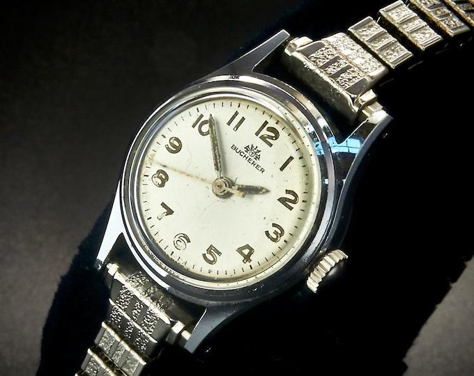Luxury 1950s Bucherer Ladies Watch • Stainless Steel Tonneau • Silver Round Dial • Mid Century Minimalist Style • Estate Heirloom Jewelry