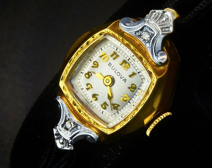 """Very Rare Tiny 1947 """"Margo"""" Two Tone 10k Gold Plated Marquise Cocktail Watch • Two Old Mine Diamonds • Art Nouveau Heirloom Estate Jewelry"""