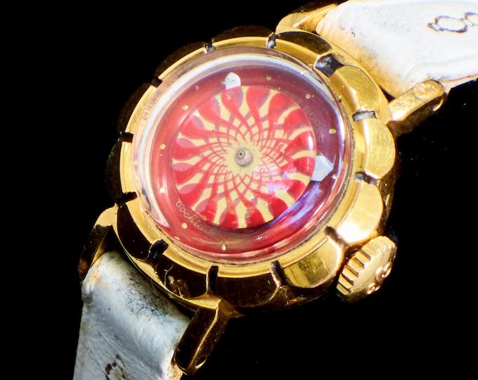 Dainty 1950s Kaleidoscope Watch • Ernest Borel Gold Cocktail Wristwatch • Woman's/Girl's Size • Mid Century Mod Heirloom Estate Jewelry