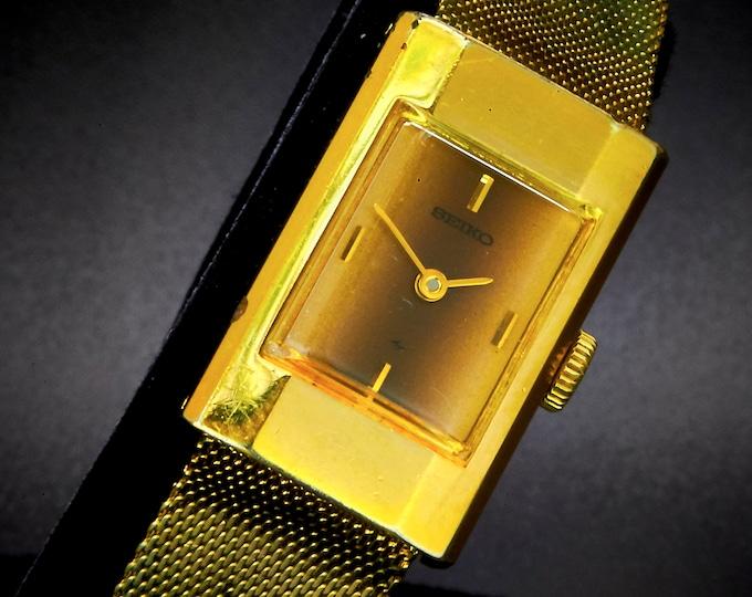 DISCO's BACK! Vintage 1978 Seiko RePlated 18k Gold Tall Rectangular Watch •  • Original 14k Gold Plated Integrated Duchess Mesh Bracelet
