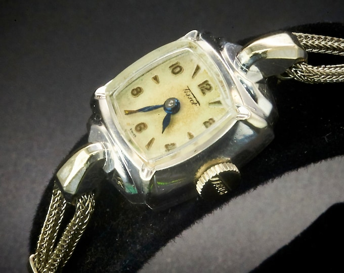 TINY! DAINTY! 1955 Tissot 10k White Gold Filled Square Marquise Cocktail Watch • 10k GF Cord Style Bracelet • Heirloom Estate Jewelry