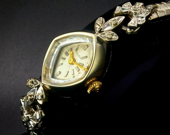 "1970 Bulova Diamond ""La Petite"" •Women's White Gold Mid Century Modern • 70s Designer Cocktail Bracelet Watch • Heirloom Estate Jewelry"