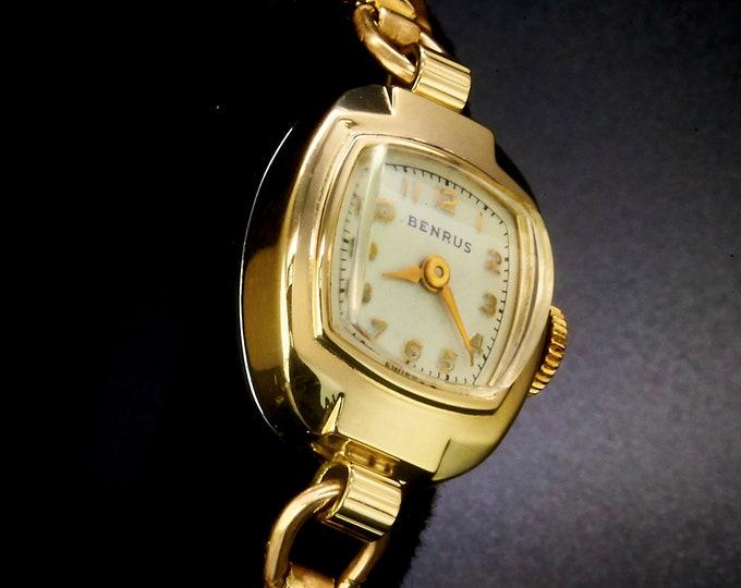 "Vintage 1954 Benrus ""Lady Francene"" Gold Airline Stewardess Watch • ORIGINAL BOX • Mid Century Modern Estate Heirloom Jewelry"