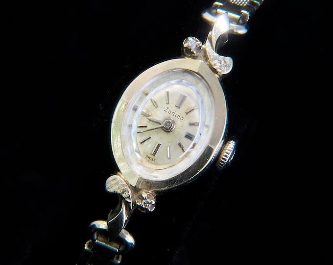 Solid 14k Gold & Diamonds, 1960s Vintage Zodiac Cocktail Watch, Ladies Silver Bracelet Watch, Solid White Gold Heirloom Estate Jewelry