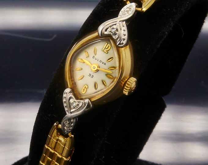 "La Petite"" Gold Cat Eye Cocktail Watch • Original GF Duchess bracelet • MMM Heirloom Estate Jewelry"