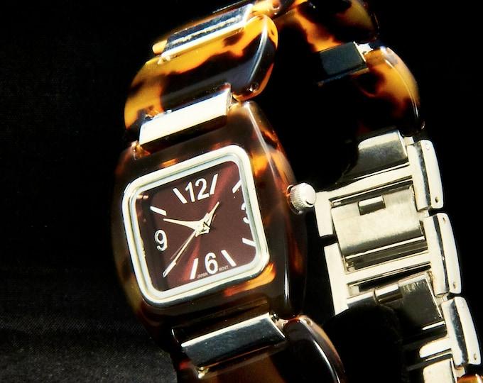 FUN! COOL! Vintage 1990s Ladies Acrylic Fashion Quartz Watch • Original Acrylic Tortoise Shell Disc Links Bracelet • Estate Jewelry